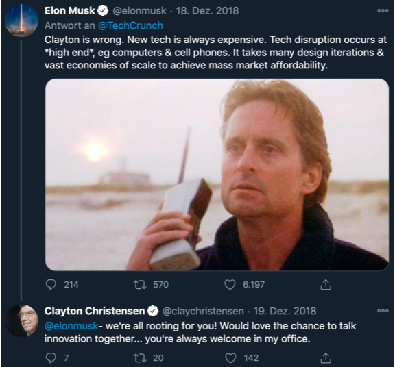 Tweet between Elon Musk and Christensen